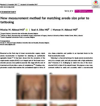 Nouvelle méthode de mesure d'égalisation de la taille de l'aréole avant tatouage - Dr Abboud