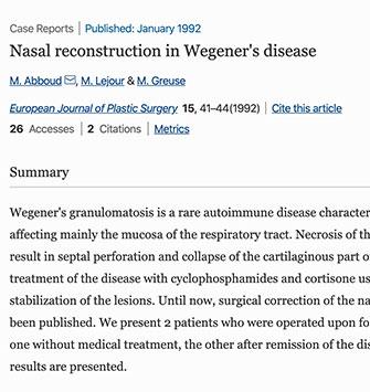 Reconstruction nasale dans la maladie de Wegener - Dr Abboud