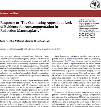 """Response to """"The Continuing Appeal but Lack of Evidence for Autoaugmentation in Reduction Mammaplasty"""
